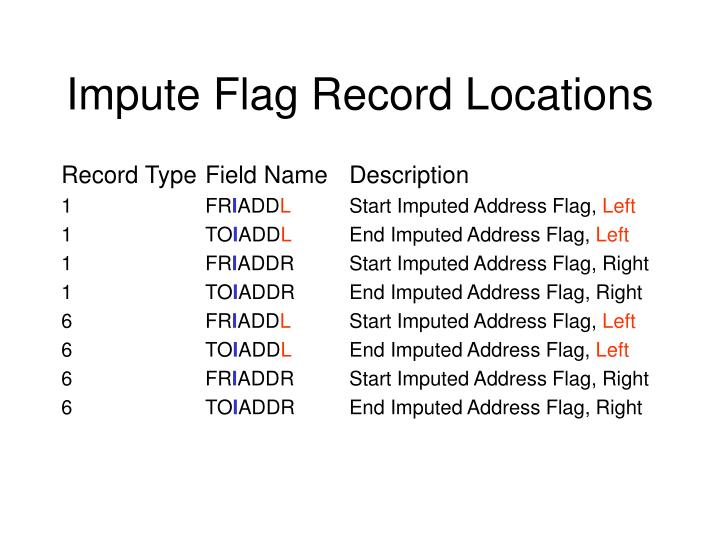 Impute Flag Record Locations