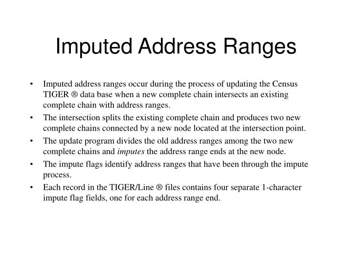 Imputed Address Ranges