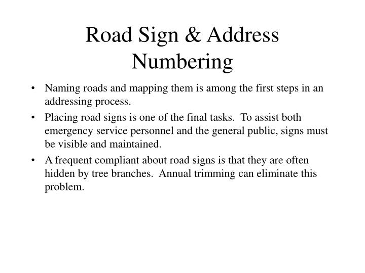 Road Sign & Address