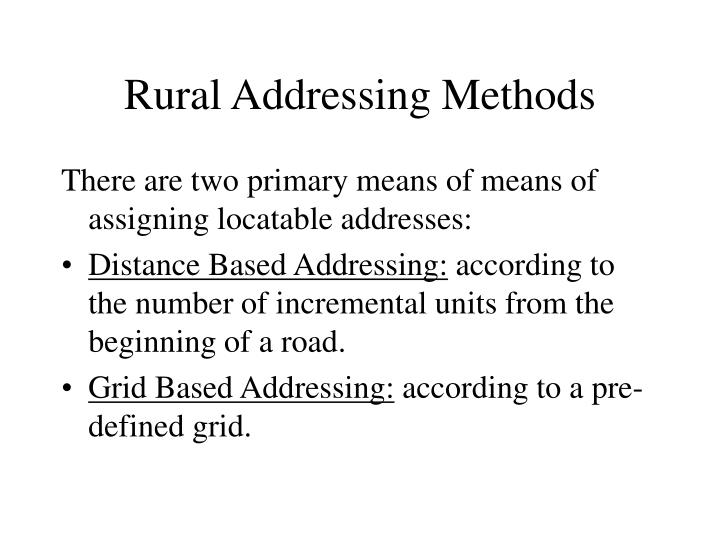 Rural Addressing Methods