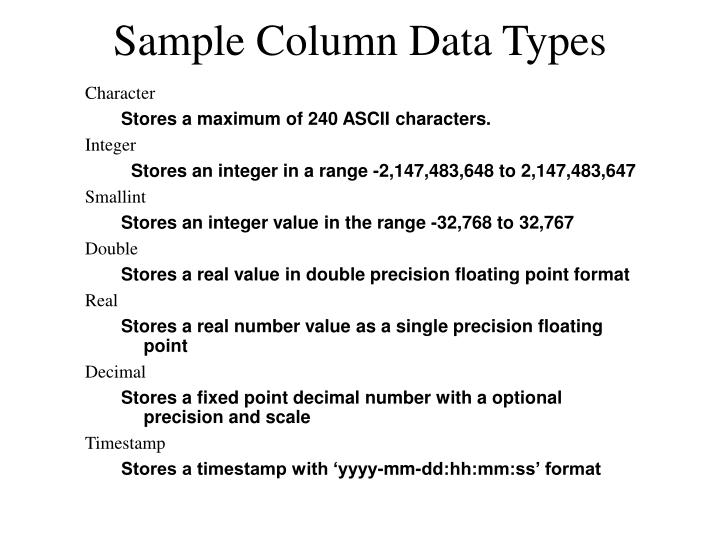 Sample Column Data Types