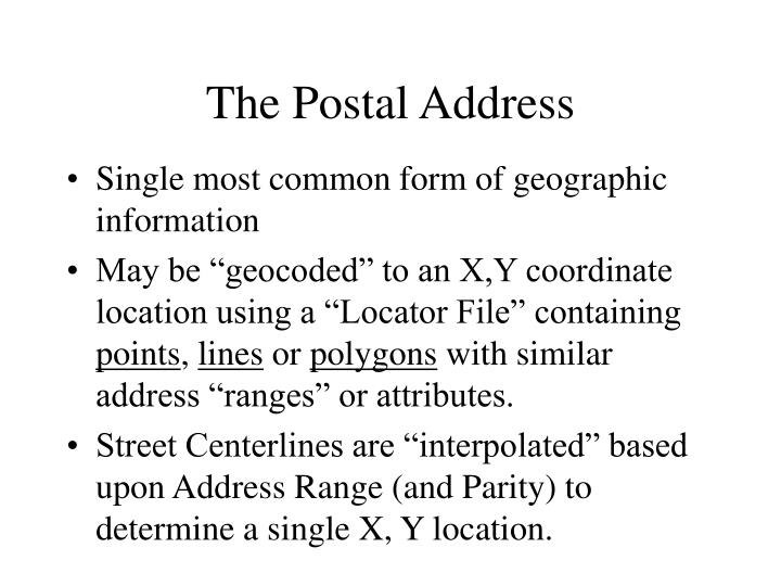 The Postal Address
