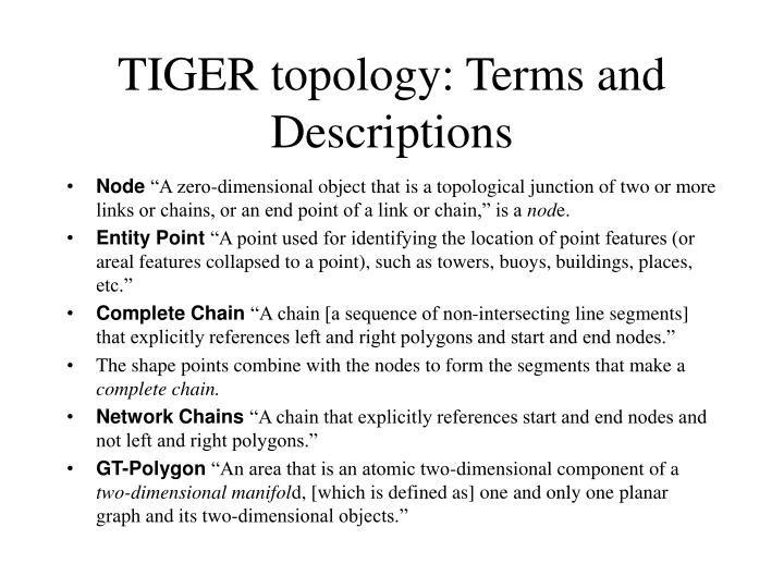TIGER topology: Terms and Descriptions