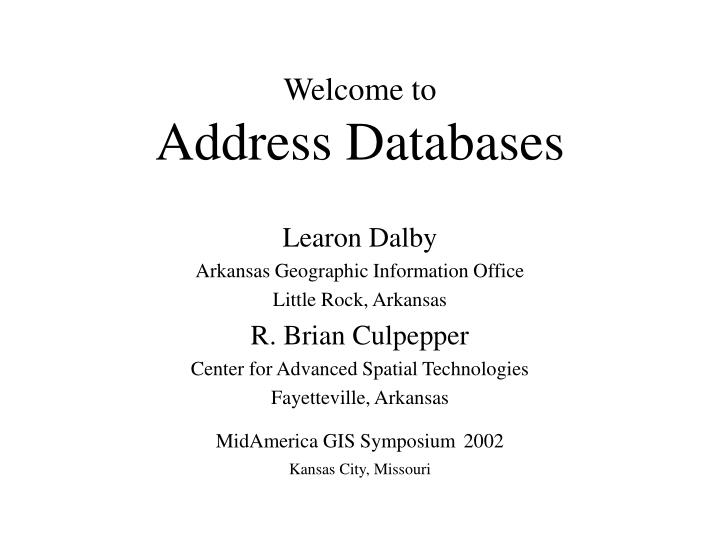 Welcome to address databases