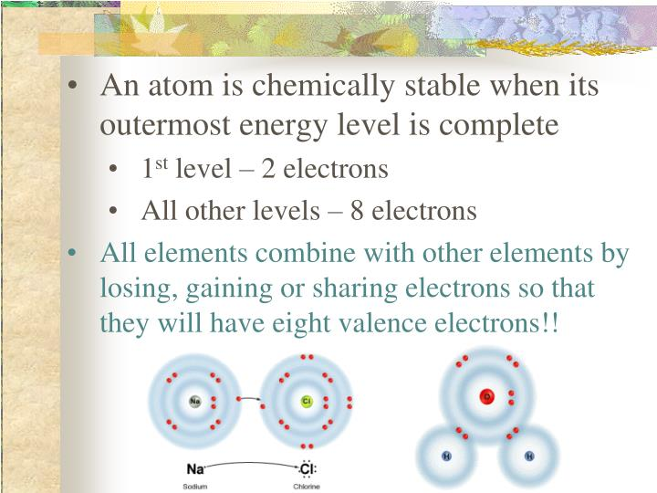 An atom is chemically stable when its outermost energy level is complete