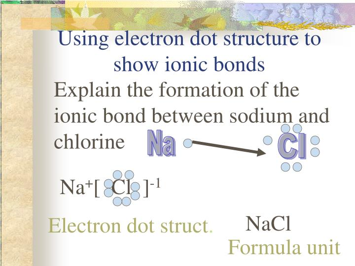 Using electron dot structure to show ionic bonds