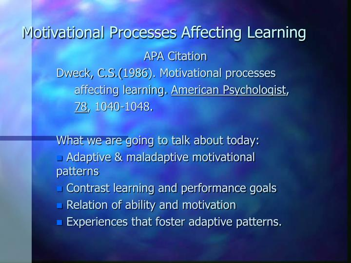 motivational processes affecting learning n.