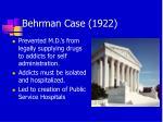 behrman case 1922