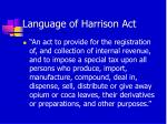 language of harrison act