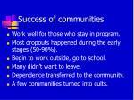success of communities