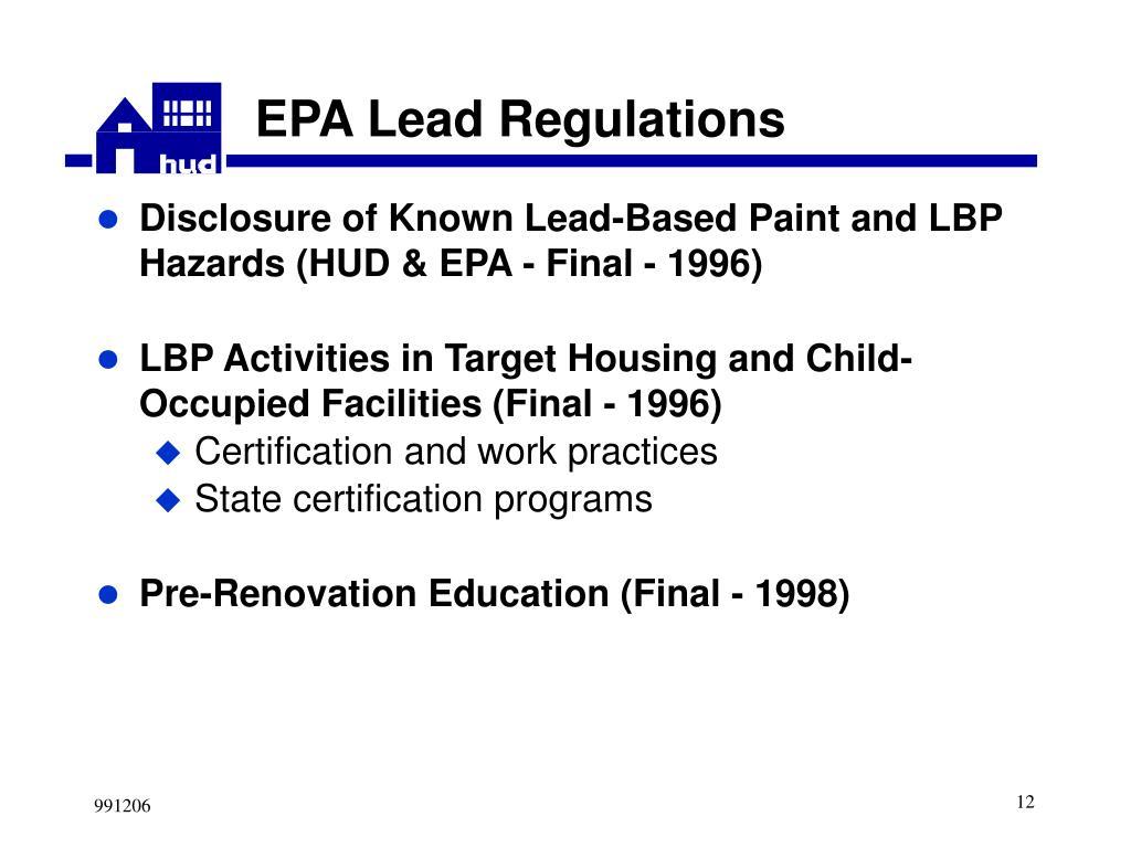 EPA Lead Regulations