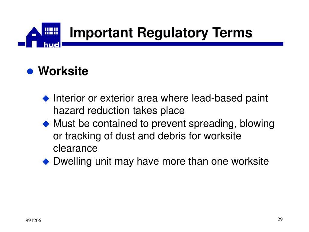 Important Regulatory Terms