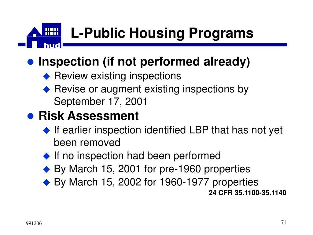 L-Public Housing Programs
