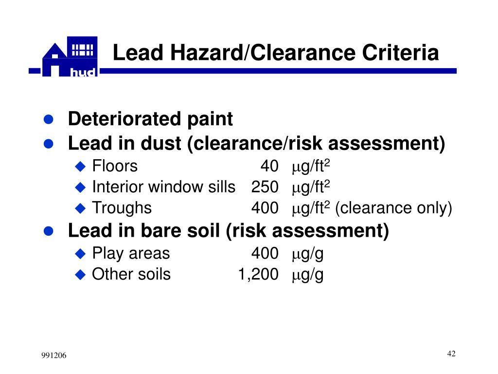 Lead Hazard/Clearance Criteria