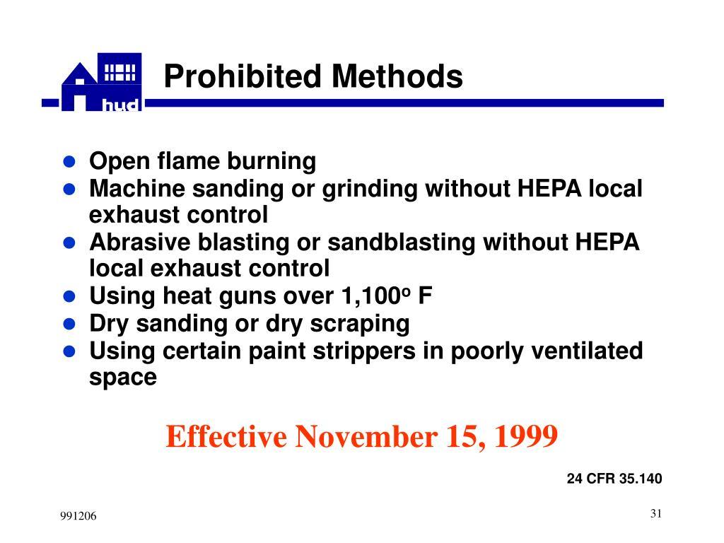 Prohibited Methods