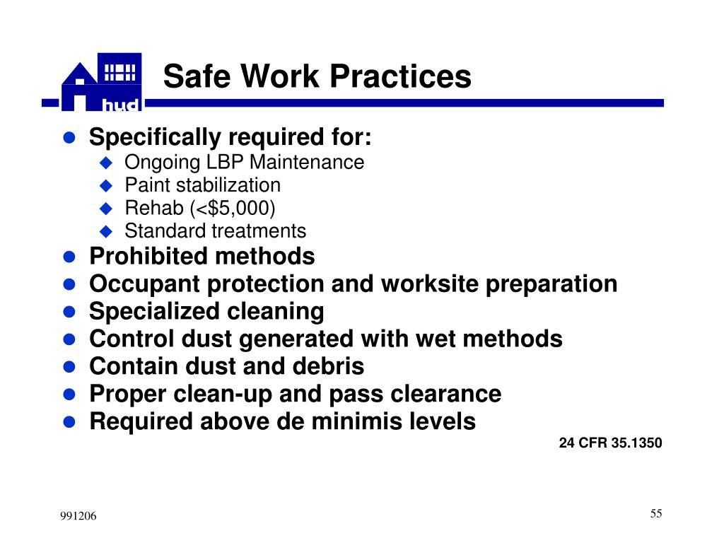 Safe Work Practices