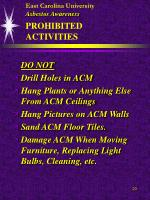 east carolina university asbestos awareness prohibited activities