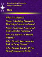 east carolina university asbestos awareness quiz