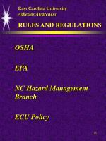 east carolina university asbestos awareness rules and regulations