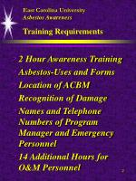 east carolina university asbestos awareness training requirements