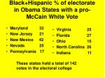 black hispanic of electorate in obama states with a pro mccain white vote