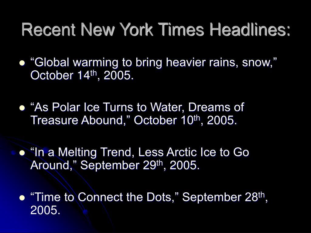 Recent New York Times Headlines: