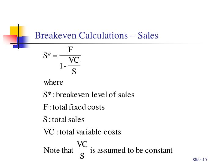 Breakeven Calculations – Sales
