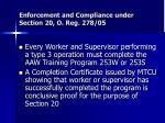 enforcement and compliance under section 20 o reg 278 05