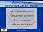 a ddie analysis define what is to be learned