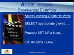 a ddie analysis experiential example