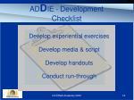 ad d ie development checklist