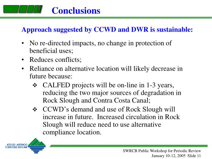 Approach suggested by CCWD and DWR is sustainable: