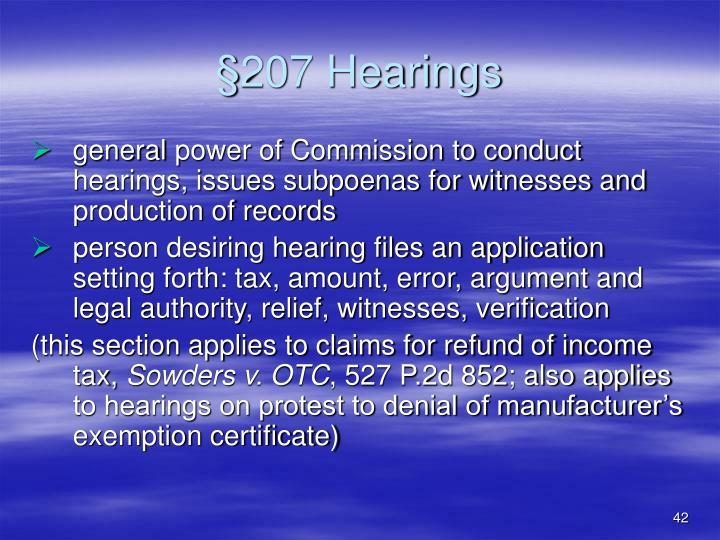 §207 Hearings