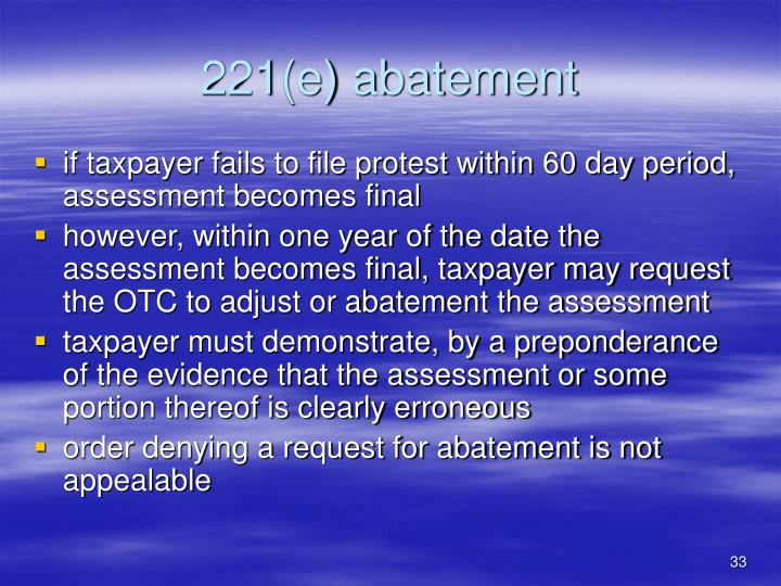221(e) abatement