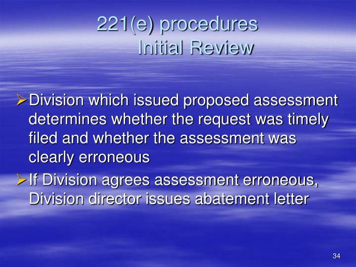 221(e) procedures