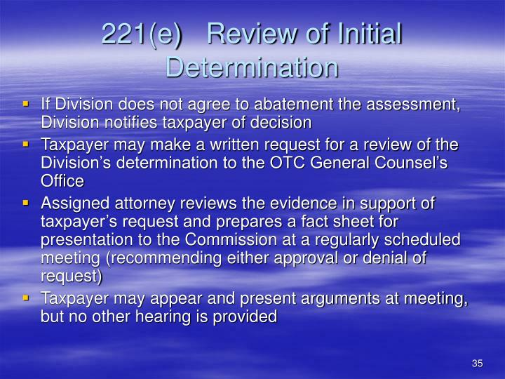 221(e)   Review of Initial Determination