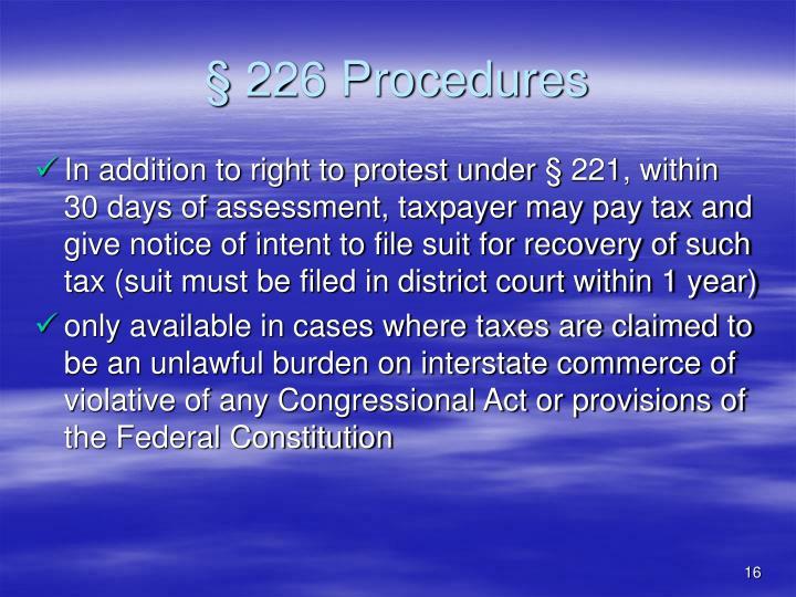 § 226 Procedures
