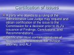 certification of issues