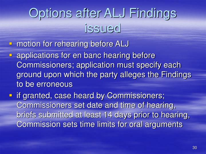 Options after ALJ Findings issued