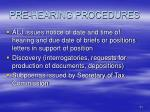 pre hearing procedures