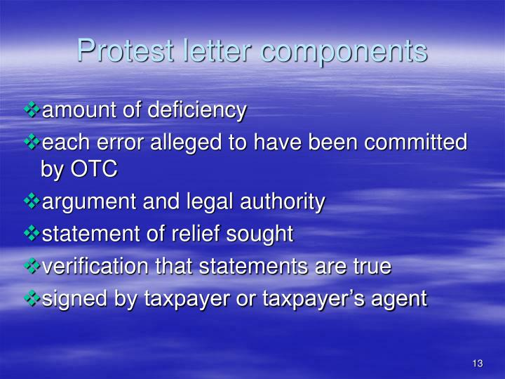 Protest letter components