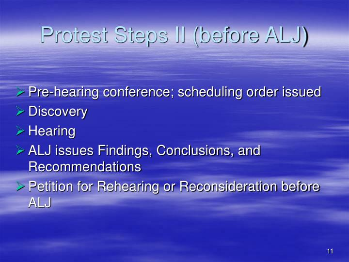Protest Steps II (before ALJ)