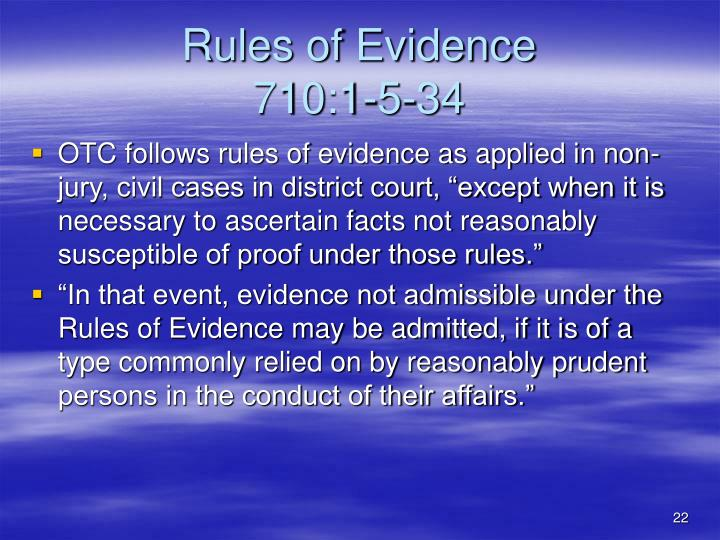 Rules of Evidence