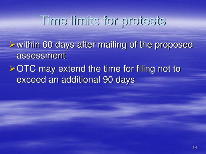 Time limits for protests