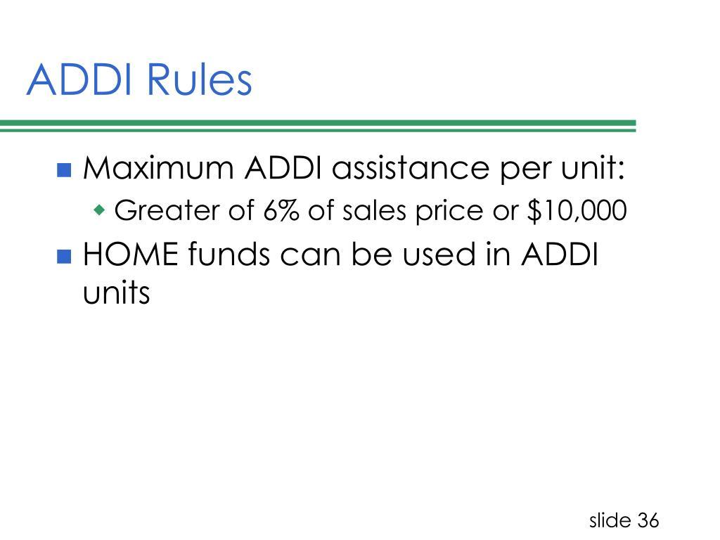 ADDI Rules
