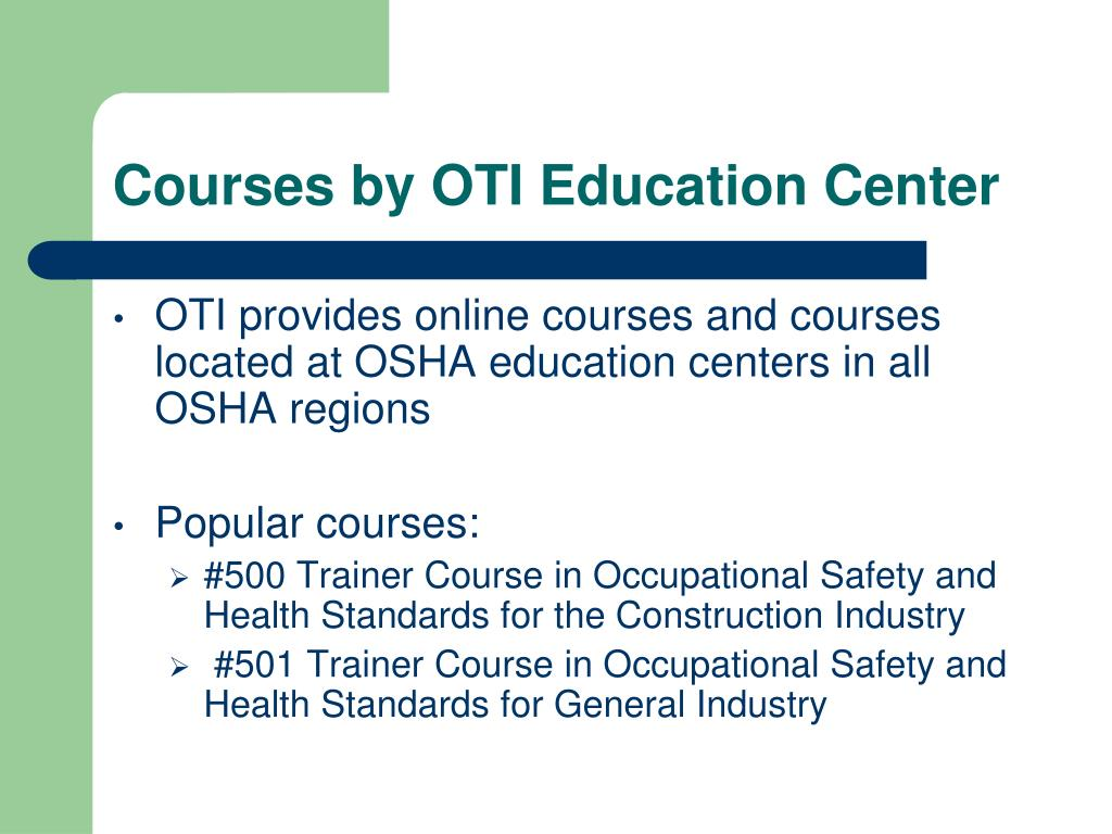 Courses by OTI Education Center