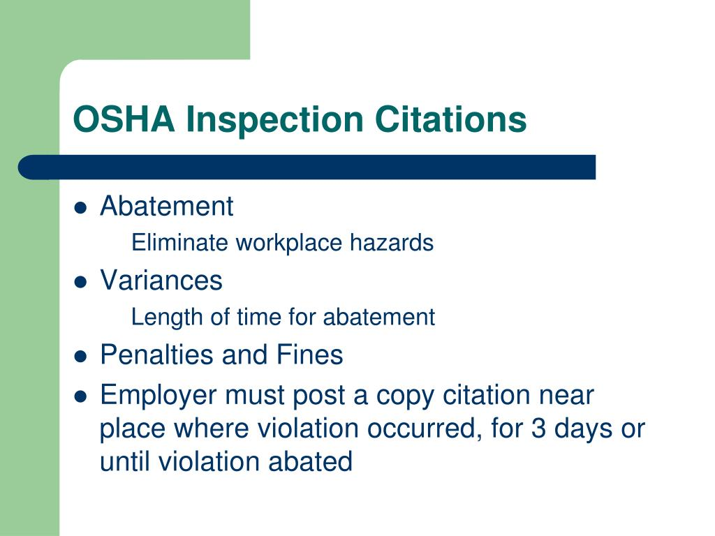 OSHA Inspection Citations