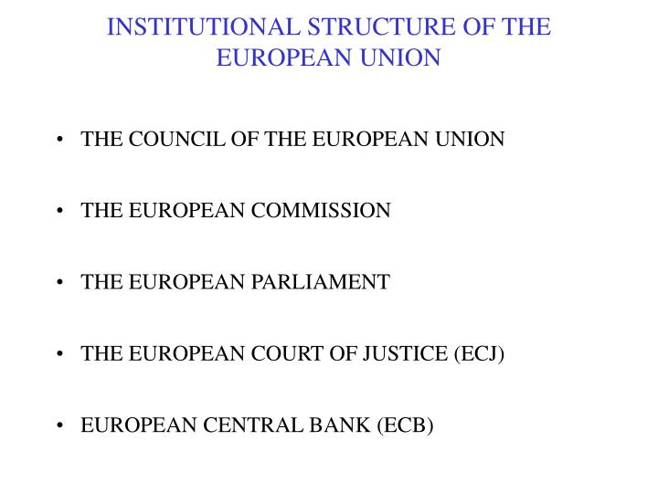 institutional structure of the european union n.