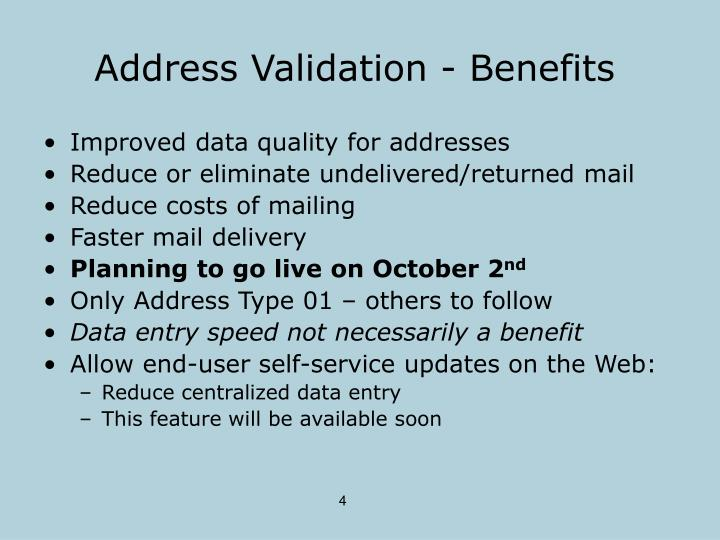 Address Validation - Benefits