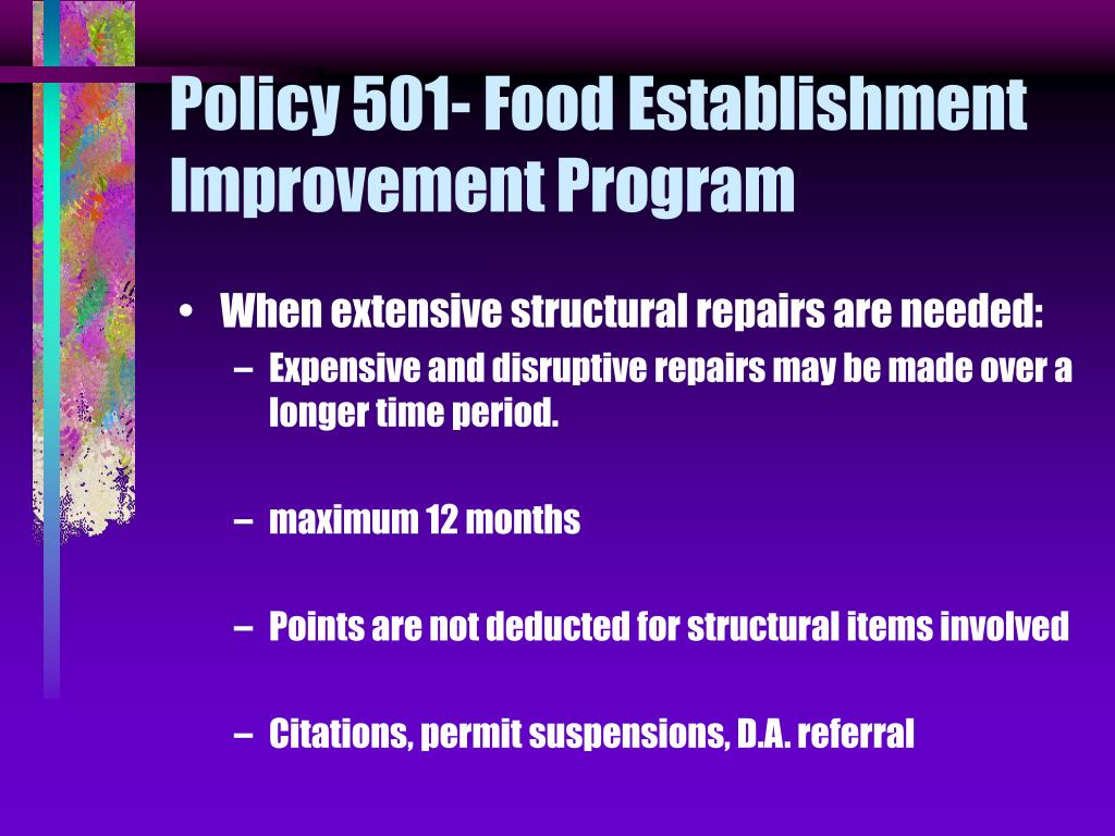 Policy 501- Food Establishment Improvement Program